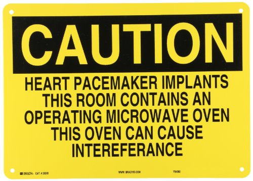 "Brady 25255 Plastic Radiation & Laser Sign, 10"" X 14"", Legend ""Heart Pacemaker Implants This Room Contains An Operating Microwave Oven This Oven Can Cause Interference"""