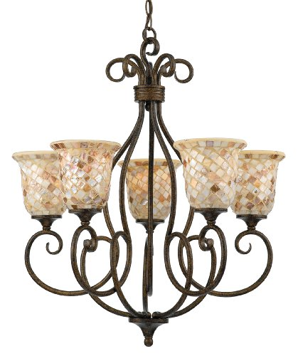 Quoizel MY5005ML Monterey Mosaic 5 Light Chandelier, Malaga and Pen Shell Mosaic Glass Shade
