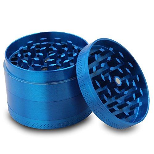 DCOU-Zinc-Alloy-Tobacco-Grinder-Spice-Grinder-Herb-Grinder-Weed-Grinder-with-Magnetic-Cover-Sifter-and-Pollen-Scraper-4-Piece-214-Blue