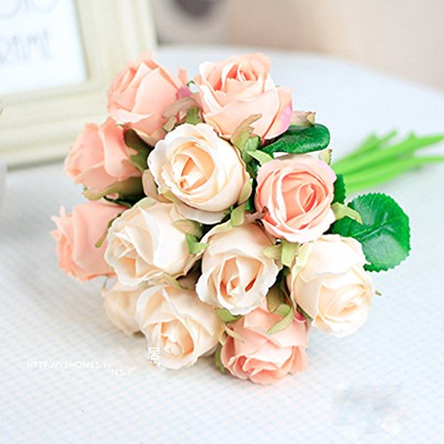 Meiliy 1 Bunch 12-Pack Fake Floral Rose Silk Flower Hand Tied Bouquet High Quality Artificial Flower Home Hotel Office Wedding Party Garden Craft Art Decor 10 Inch Pink ML-011pi