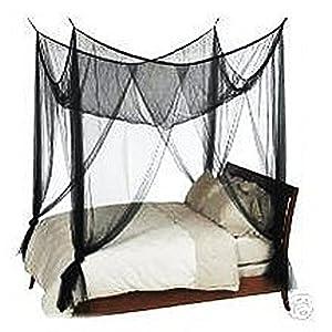 filet moustiquaire de lit baldaquin 4 coins pour lit queen king size noir b b s. Black Bedroom Furniture Sets. Home Design Ideas