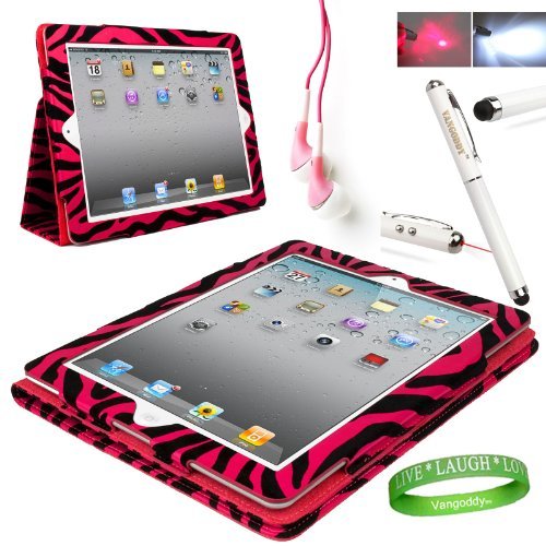 Pink Zebra iPad Skin Cover Case Stand with Screen Flap and Sleep Function for all Models of The NEW Apple iPad (3rd Generation, wifi , + AT&T 3G , 16 GB , 32GB , MD328LL/A , MD329LL/A , MD330LL/A ect..) + Compatible Pink iPad earbud Earphones with Noise reduction + Custom iPad Anti Glare Screen Protector + Live * Laugh * Love Vangoddy Trademarked Wrist Band + Multifunctional iPad Stylus with Laser Pointer & LED Light *Batteris INCLUDED*