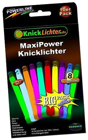 10 MaxiPower Knicklichter KNALLBUNT 5-Farbmix Extra dick! 150x15mm! Jetzt im günstigen BIG Sparpack! Neueste Generation. Unter eigenem Label produziert.