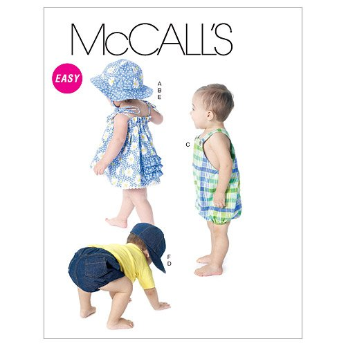 Mccall'S Patterns M6309 Infants' Dress, Panties, Romper, Diaper Cover And Hats, All Sizes