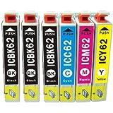 【 ICチップ付 4本パック + ICBK62 2本 】 Epson IC4CL62 汎用 インクカートリッジ