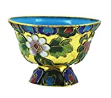 Gold Colored Tibetan Cloisonne Buddha Offering Bowl, Altar Table Cloisonne Offering Bowl