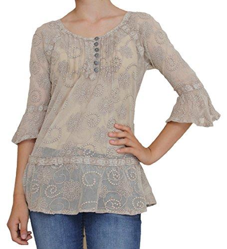 Natural Color Lace Blouse - Large size #215531