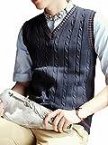 (フォーパリー) Foppery メンズ ニットベスト Vネック ケーブル織り シンプル カジュアル トップス インナー レイヤード (XL, ネイビー)