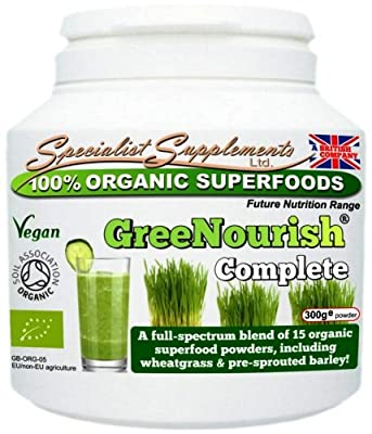 GreeNourish - Organic Superfoods Nutrition Supplement (300g TUB) - SOIL ASSOCIATION CERTIFIED PRODUCT from Specialist Supplements Ltd.