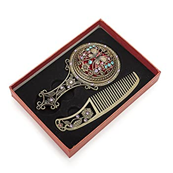 ALICE Bronze Antique Hand Mirror and Comb Set, With Gift Box