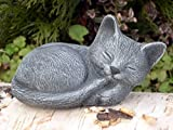 Garden ornamental Figure - Small Cat sleeping, Cast stone, Slate gray