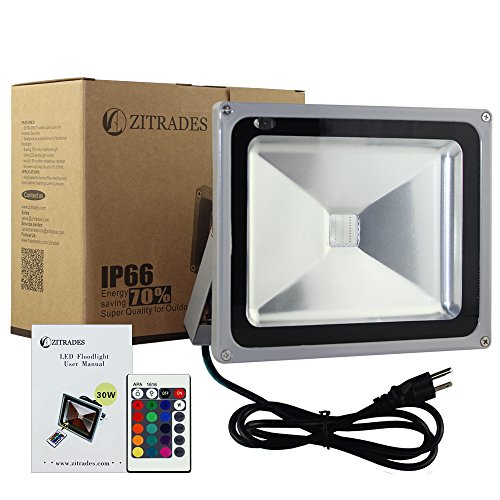 Zitrades High Power Brand New 30W Led Spotlight Flood Light Wall Wash Garden Outdoor Waterproof Floodlight Rgb Color 90V - 240V Ac Us 3-Plug With Remote Control By Zitrades