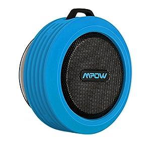 Mpow Buckler Altavoz Bluetooth Ducha Impermeable con Microfono, Altavoz Portatil con Ventosa para Ducha y Exterior, Altavoces Inalambricos con 5W de Potencia Aporta Manos Libres,8 Horas Larga Duración de Batería - Azul