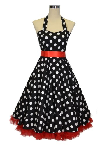 Luv Ruby Women's Rockabilly with Ribbon Bow and Petticoat Dress