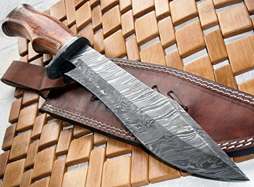 REG-215 - Handmade Damascus Steel 14.00 Inches Bowie Knife - Exotic Wood Handle