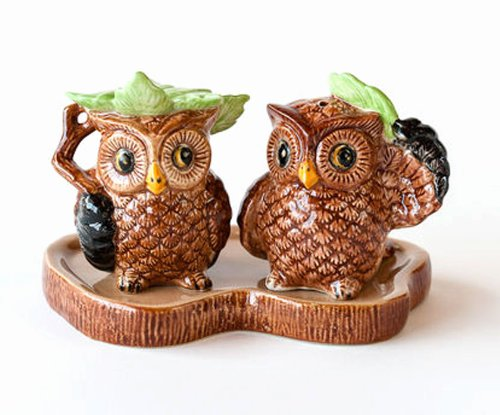 Retro Owl Ceramic Salt and Pepper Shakers on Log Display Tray-3 Pieces