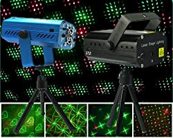 LED Laser Projector Club Dj Disco Bar Stage House Lighting Light Mini Protable Voice-activated Version (Case Color Vary)