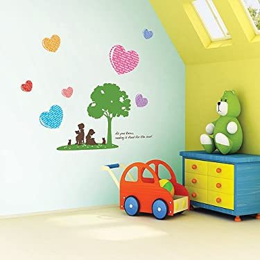 Nursery Easy Apply Wall Sticker Decorations - Reading Tree and Hearts