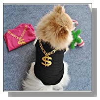 Small Dog Shirt, Voberry Fashion Pet Puppy Clothes Mesh Costumes Pet Dog Cat Cute Necklace T Shirt (M, Black)