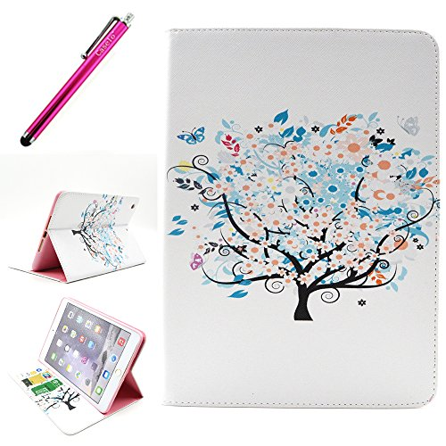 iPad Mini 3 Case, JCmax Protective Cover New [Card Slots] [Durable Cover] [Kickstand Feature] Colorful Premium Flip Side Folio Style Foldable PU Leather Wallet Case Skin Cover Protection for Apple iPad Mini 3 + One Stylus - [Tree Pattern Design]