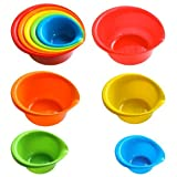 5 Piece Plastic Mixing Bowls With Built-in Pouring Spouts In Assorted Colors And Assorted Sizes