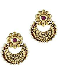 Gehnamart Yellow Gold Plated Pearl Floral Designer Stud Earring - B01B4L5DJQ