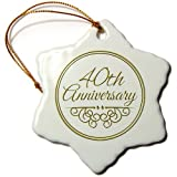 3dRose orn_154482_1 40th Anniversary Gift with Gold Text for Celebrating Wedding Anniversaries Porcelain Snowflake Ornament, 3-Inch
