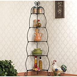 Upton Home Scrolled Black Corner Etagere, Creates a Stunning Silhouette.