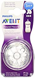 Philips Avent Natural Teat 3 Holes Medium Flow - 3months+ (2Pc. Pack)