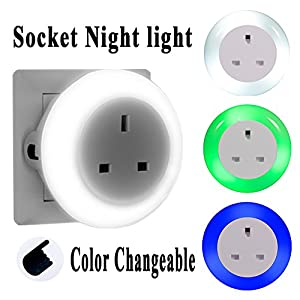 Emotionlite LED Plug Through Socket Night Light with Dusk to Dawn Senor Night lamp Integrated 2990W 13A Socket Indicator Lighting Mood Lighting 0.6W 3 Colors (Green, Blue, White) Interchangeable 2990W by Emotionlite