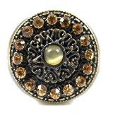 Bague Bronze Cristal Ambre Shield