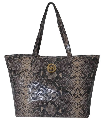 Michael Kors Snake Skin Leather Jet Set MD Travel Tote Bag Handbag Purse- Dark Sand