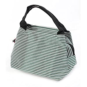 Green White Stripes Printed Cosmetic Bag Make Up Pouch for Ladies