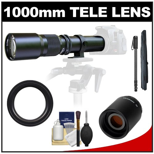 Samyang 500Mm F/8.0 Telephoto Lens With 2X Teleconverter (=1000Mm) + Monopod Kit For Pentax K-30, K-7, K-5, K-01, K-R Digital Slr Cameras