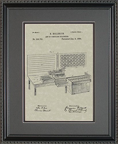 Punch Card Tabulator Patent Art Wall Hanging | Computer Programmer Framed Gift 11x14