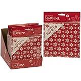 Disposable Paper Napkins/Serviettes 33Cm X 33Cm 40/Pack - Red/Ivory Christmas Snowflake Design