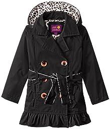 Pink Platinum Little Girls\' Double Leopard Jacket, Black, 5/6