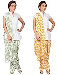 Womens Cottage Combo Pack Of 2 Printed Cotton Semi Patiala & Cotton Dupatta With Lace Set - B01G1GIT86