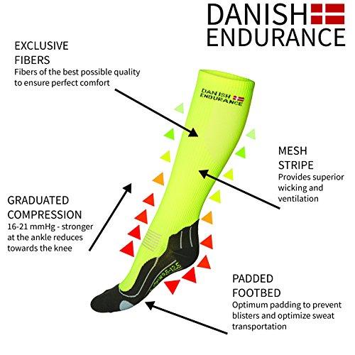 DANISH ENDURANCE Compression Socks // (US 7.5-9.5, Yellow/Grey)