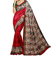 RGR Enterprice Woman's Bhagalpuri Designer Saree (Parvati red_Multi-Coloured_Free Size)