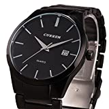 Voeons Mens Watches Big Dial Auto Date Black Stainless steel Strap Watch