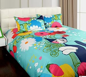 Amazon.com - Cartoon Bed Sheets, Cute Cat Print Bedding Sets ...
