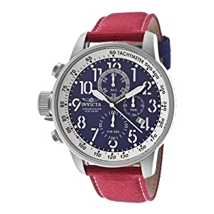 Invicta Men's 12080 Force Chronograph Blue Dial Red Rifle Fabric Watch