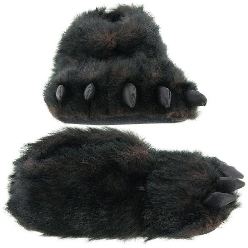 Image of Fuzzy Black Bear Paw Slippers for Men and Women (B004CFV7CO)