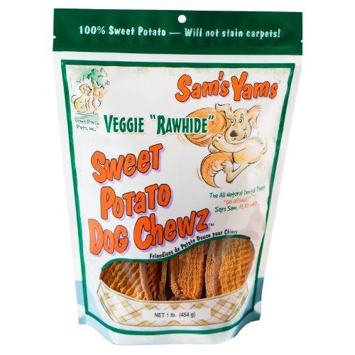 Sam's Yams Veggie Rawhide Sweet Potato Dog Treats -1 Pound