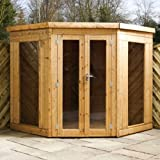 7ft x 7ft Contemporary Corner Shiplap Apex Wooden Garden Summerhouse - Brand New 7x7 Tongue and Groove Wood Summerhouses