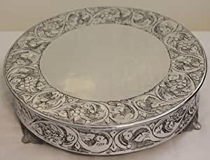 silver round wedding cake stand plateau other products cake stands