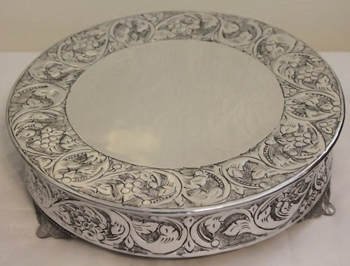 14 inch silver round wedding cake stand plateau