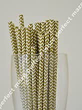 Perfectmaze 50 Pack Stylish Paper Straws ChevronGold