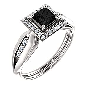 Platinum Princess Cut Black Diamond Halo-Style Engagement Ring - 1.21 Ct.